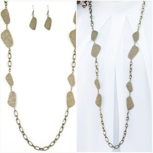 HANDCRAFTED HARMONY BRASS NECKLACE/EARRING SET
